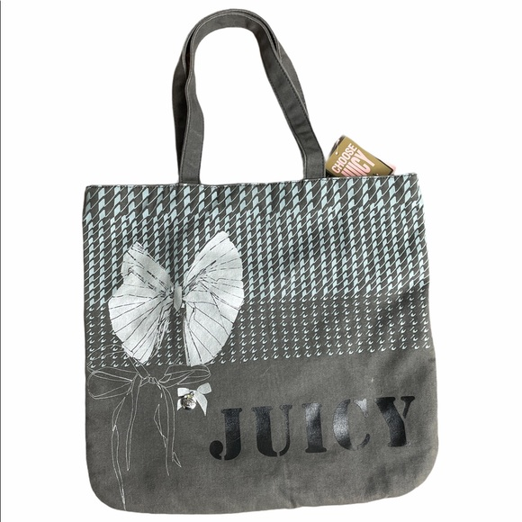 New! Juicy Couture Grey Canvas Tote